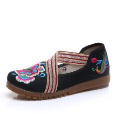 ราคา ปักรองเท้าผู้หญิงรองเท้าฤดูใบไม้ผลิป่าเส้นเอ็นที่สิ้นสุด สีดำ ถูก