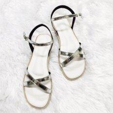 ราคา รองเท้าสไตล์มินิมอล ดีไซน์เส้นไขว้หน้า พร้อมสายหลัง สีเงิน