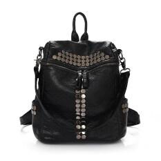 กระเป๋าเป้หนังแกะนิ่ม แต่งหมุดโลหะ สำหรับ ผู้หญิง สีดำ สีดำ ถูก
