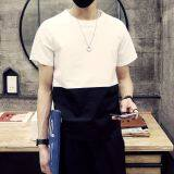 เกาหลีแขนสั้นคอกลมวัยรุ่นชายเสื้อเสื้อยืด สีขาวบนสีดำ ถูก