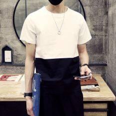 ขาย ซื้อ เกาหลีแขนสั้นคอกลมวัยรุ่นชายเสื้อเสื้อยืด สีขาวบนสีดำ