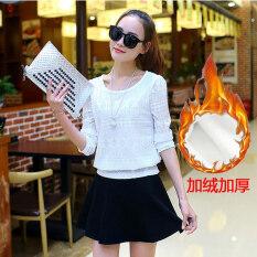 โปรโมชั่น เสื้อชีฟองเกาหลีเสื้อลูกไม้แขนยาวหญิงใหม่ บวกกำมะหยี่หนา สีขาวท็อปส์ซู สร้อยคอส่ง Unbranded Generic
