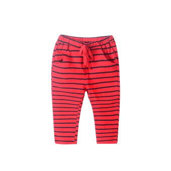 Review กางเกงผ้าฝ้ายบางฮาเร็มกางเกงรุ่นฤดูใบไม้ผลิขนาดเล็กเด็กผู้ชาย (แถบสีแดงและสีฟ้า)