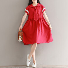 ขาย ชุดเดรสผ้าฝ้ายวรรณกรรมใหม่ตุ๊กตาคอ สีแดง Other เป็นต้นฉบับ