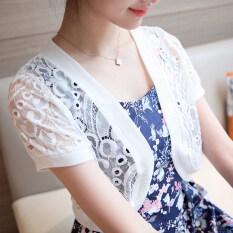 ราคา Ins เสื้อผ้าแฟชั่น ขนาดเล็กเวตเตอร์ถักเสื้อส่วนบางแขนสั้นผ้าคลุมไหล่ ละลายในไร้สาระ ที่สุด