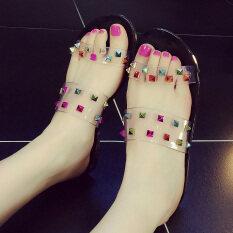 ขาย รองเท้าแตะเกาหลีรองเท้าแตะและรองเท้าแตะหมุดคริสตัลคำ สีดำ สีหมุด Unbranded Generic ถูก