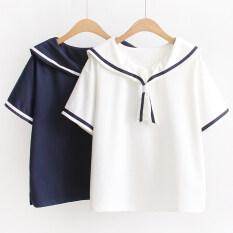 โปรโมชั่น เสื้อยืดญี่ปุ่นฤดูร้อนใหม่น้ำเงินปก น้ำเงิน ฮ่องกง