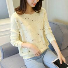 ซื้อ หลวมเกาหลีหญิงเสื้อกันหนาวเสื้อสวมหัวป่าเสื้อกันหนาวคอรอบเสื้อกันหนาว สีเบจสี ใหม่ล่าสุด
