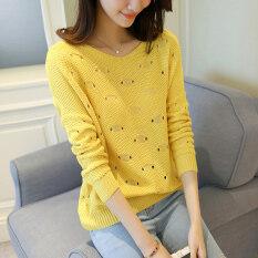 ขาย หลวมเกาหลีหญิงเสื้อกันหนาวเสื้อสวมหัวป่าเสื้อกันหนาวคอรอบเสื้อกันหนาว สีเหลือง ถูก ฮ่องกง