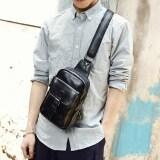 ราคา เกาหลีหนังนิ่มผู้ชายหน้าอกถุงแพ็คหน้าอก สีดำ ที่สุด