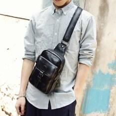 ขาย ซื้อ เกาหลีหนังนิ่มผู้ชายหน้าอกถุงแพ็คหน้าอก สีดำ