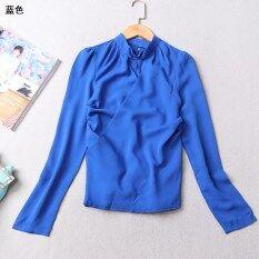 ส่วนลด คอกลมเสื้อสวมหัวแขนยาวสีทึบเสื้อยืด สีน้ำเงิน Unbranded Generic