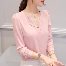 ซื้อ เสื้อเซิ้ตแขนยาว คอวี แฟชั่นผู้หญิง สไตล์เกาหลี หนังสีชมพู หนังสีชมพู Unbranded Generic