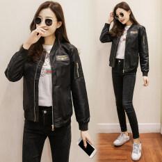 เสื้อแจ็คเก็ตสั้น แขนยาว ผู้หญิง สไตล์เกาหลี สีดำ.
