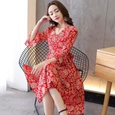 ราคา ชุดเดรสผู้หญิง ผ้าชีฟอง ลายดอก สีแดง สีแดง ใน ฮ่องกง