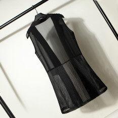 ราคา ชีฟองฤดูร้อนบางเฉียบเสื้อกั๊กเย็บเวตเตอร์ถัก สีดำ Other