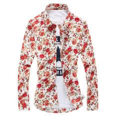 ซื้อ ดอกไม้เกาหลีผู้ชายแขนยาวฤดูใบไม้ผลิพิมพ์เสื้อเสื้อ ดอกคำฝอย ส่วนบาง Unbranded Generic