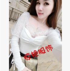 ขาย เสื้อเกาหลีใหม่ลูกไม้คอ V สีขาว ฮ่องกง