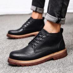 รุ่นเกาหลีของผู้ชายมาร์ตินรองเท้ารองเท้าชาย สีดำ เป็นต้นฉบับ