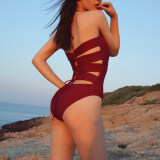 ราคา น้ำพุร้อนในยุโรปและอเมริกาใหม่สยามเหล็กเสาหญิงชุดว่ายน้ำ ไวน์แดง Unbranded Generic เป็นต้นฉบับ