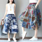 ขาย กว้างขากางเกงลมชาติกางเกงฤดูใบไม้ผลิและฤดูร้อนเอวยางยืด สีฟ้า เป็นต้นฉบับ