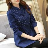 ขาย ซื้อ เสื้อเชิ้ต ลายดอกของผู้หญิง สไตล์เกาหลีสีฟ้าเข้ม น้ำเงิน น้ำเงิน ฮ่องกง