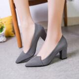 ขาย รองเท้าเกาหลีรองเท้าส้นสูงหนังนิ่มหญิงกับรองเท้า สีเทาอ่อน ออนไลน์ ฮ่องกง