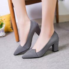 ขาย ซื้อ รองเท้าเกาหลีรองเท้าส้นสูงหนังนิ่มหญิงกับรองเท้า สีเทาอ่อน ใน ฮ่องกง