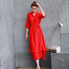 ขาย ชุดเดรสผู้หญิง ผ้าลินิน สไตล์จีน ขนาดใหญ่ สีแดง สีแดง เป็นต้นฉบับ