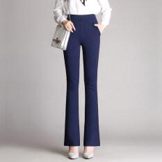 ราคา กางเกงเกาหลีกางเกงสีดำเอวสูงบูตตัด น้ำเงิน ใหม่