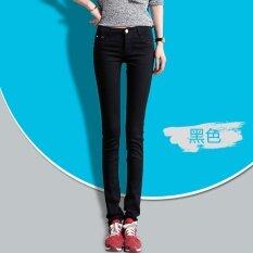 ราคา กางเกงยีนส์สีดำผอมกางเกงขายาวลำลองกางเกง สีดำ ใหม่