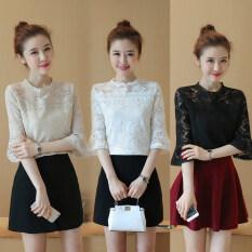 ราคา เสื้อ Bottoming เสื้อลูกไม้เกาหลีหญิงฤดูร้อนใหม่ สีเบจ เป็นต้นฉบับ