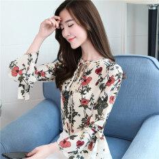 ซื้อ บ้านเกาหลีคอวีลูกไม้ทรัมเป็ตหลวมเสื้อเสื้อชีฟองลายดอกไม้ สีรูปภาพ ออนไลน์ ถูก