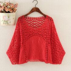 ราคา หลวมแจ็คเก็ตขนาดเล็กผ้าคลุมไหล่เสื้อค้างคาวถักเสื้อ สีแดง เป็นต้นฉบับ