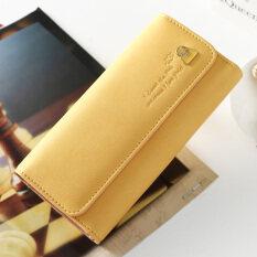โปรโมชั่น กระเป๋าสตางค์เกาหลีกระเป๋าสตางค์ใหม่พับตัดขวาง สีเหลืองอ่อน ฮ่องกง