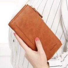 ขาย ญี่ปุ่นและเกาหลีใต้กระเป๋าสตางค์กระเป๋าสตางค์หญิงโฟลเดอร์ซิป สีน้ำตาล Unbranded Generic ออนไลน์