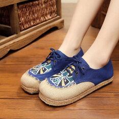 ขาย หญิงแบนระบายอากาศรองเท้าปักปักกิ่งเก่ารองเท้าผ้า สีฟ้า ผู้ค้าส่ง