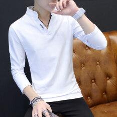 ราคา เสื้อโปโลผู้ชาย เหมาะกับนักเรียน สไตล์เกาหลี สีขาวสีส้ม สีขาวสีส้ม เป็นต้นฉบับ