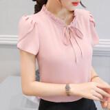 ราคา เสื้อบ้านเกาหลีชีฟองใหม่แขนสั้น หนังสีชมพูบัวแขน ฮ่องกง