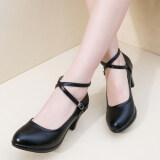 ขาย รองเท้าสบายรองเท้าหนังกันน้ำเข็มขัดข้าม สีดำ Unbranded Generic ออนไลน์