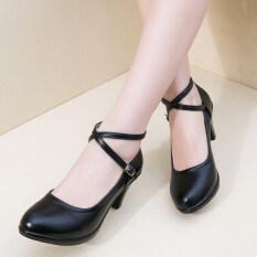 ราคา ราคาถูกที่สุด รองเท้าสบายรองเท้าหนังกันน้ำเข็มขัดข้าม สีดำ