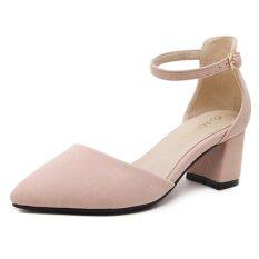 ส่วนลด รองเท้าฤดูใบไม้ผลิและฤดูร้อนรองเท้าส้นสูงแหลมหญิงกับรองเท้า สีชมพู ฮ่องกง