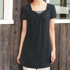 ขาย ตารางปกป่าสีทึบหญิงผอมเสื้อกันหนาวเสื้อยืด สีดำ ถูก