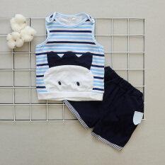 ราคา ทารกฝ้ายกางเกงขาสั้นคำเสื้อกั๊กเด็กเสื้อกั๊ก สีฟ้าลายเสื้อกั๊กชุด ออนไลน์ ฮ่องกง