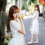 ซื้อ ชุดกระโปรงผู้หญิง ยาวกลาง รัดเอว สไตล์ เกาหลี สีขาว สีขาว Unbranded Generic เป็นต้นฉบับ