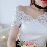 ซื้อ เสื้อผ้าฝ้าย แขนสั้น คอวีลายฉลุ เข้ารูป สไตล์ผู้หญิงเกาหลี สีขาว สีขาว Unbranded Generic ออนไลน์