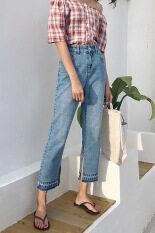 โปรโมชั่น กางเกงยีนส์ถนนในช่วงฤดูร้อนตรงกางเกงหญิงเก้าแต้ม สีฟ้าอ่อน