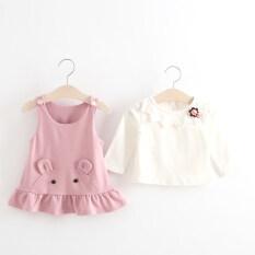 ขาย เสื้อยืดเด็กทารกชุดสายรัดสาว สีชมพู ใหม่