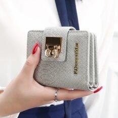 โปรโมชั่น กระเป๋าสตางค์นางสาวกระเป๋าสตางค์ขนาดเล็กเกาหลีหญิงมินิ จระเข้ สีเทา Unbranded Generic