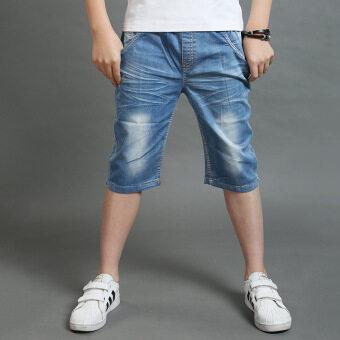 กางเกงเกาหลีกางเกงขาสั้นผ้ายีนส์เด็ก (สีรูปภาพ)